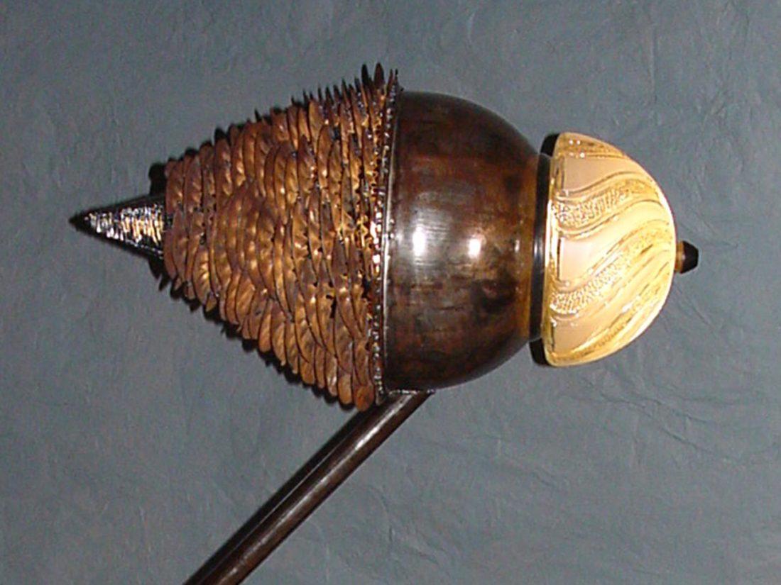 Detail lamp Bird, metaal en glas, ontwerp Jan Stigt
