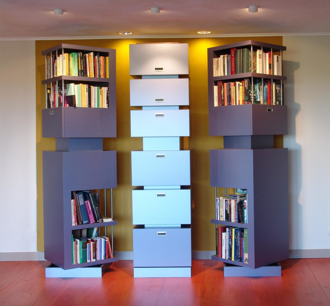 Draaibare boekenkasten, ontwerp Jan Stigt